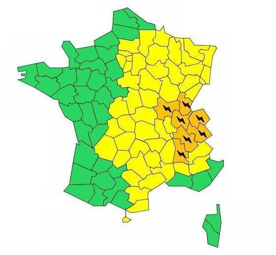 Orages: 7 départements en alerte