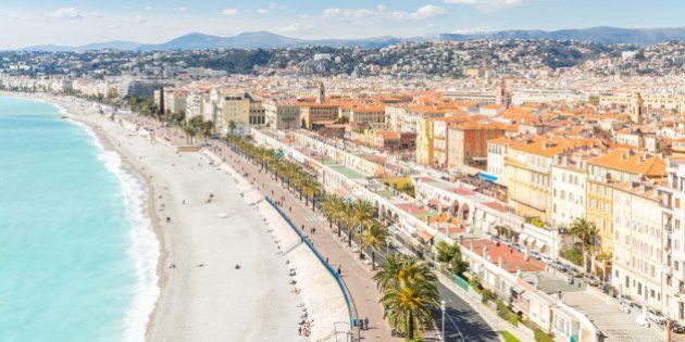 Nice Cote d'Azur Riviera France with mediterranean beach