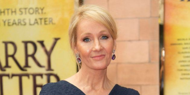 Writer J.K. Rowling poses for photographers upon arrival at gala performance of Harry Potter and the...