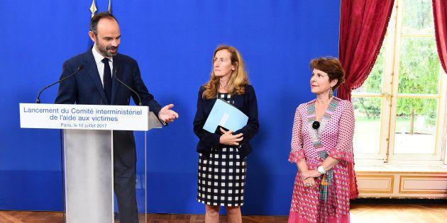 Édouard Philippe, Nicole Belloubet et Elisabeth Pelsez, mercredi 12