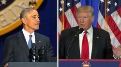 Obama vs Trump: deux discours, deux ambiances, deux