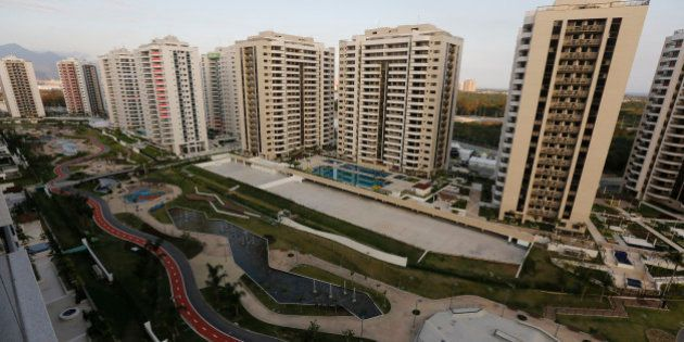 The Olympic Village stands ready in Rio de Janeiro, Brazil, Saturday, July 23, 2016. The brand new complex...