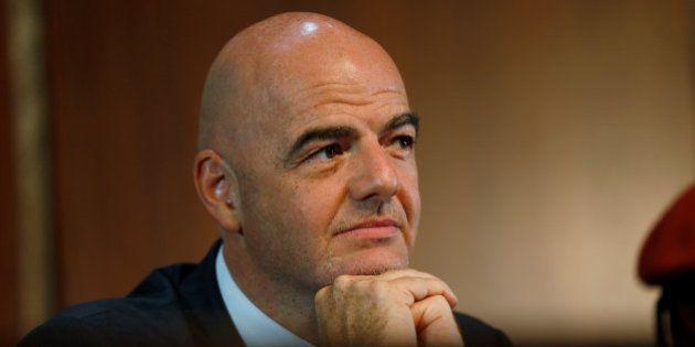 FIFA's President Gianni Infantino looks on following his meeting with Nigerian President Muhammadu Buhari...