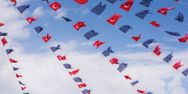 Turkey and European Union flags in Taksim
