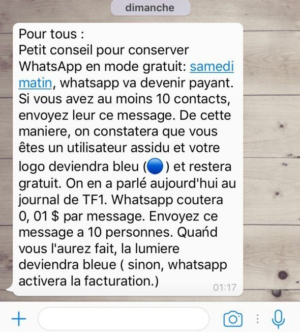 WhatsApp va devenir payant? Non, vous êtes victime d'un (vieux)