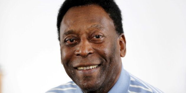 Legendary Brazilian soccer player Pele poses for a portrait during an interview in New York, U.S., April...