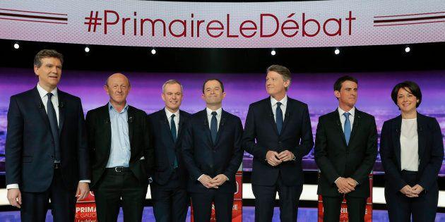 Les candidats à la primaire de la gauche lors du premier débat du 12 janvier 2017. De gauche à droite:...