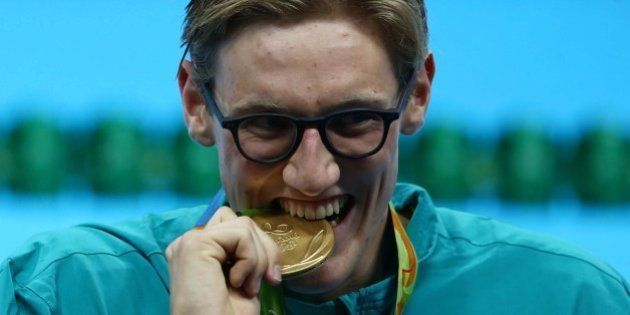 2016 Rio Olympics - Swimming - Victory Ceremony - Men's 400m Freestyle Victory Ceremony - Olympic Aquatics...