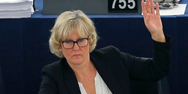 France's member of the European Parliament Nadine Morano takes part in a voting session at the European...
