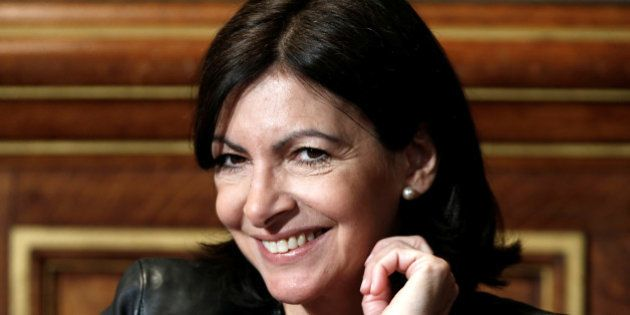 Paris Mayor Anne Hidalgo attends a news conference to announce plans for Paris art museum, at the Town...