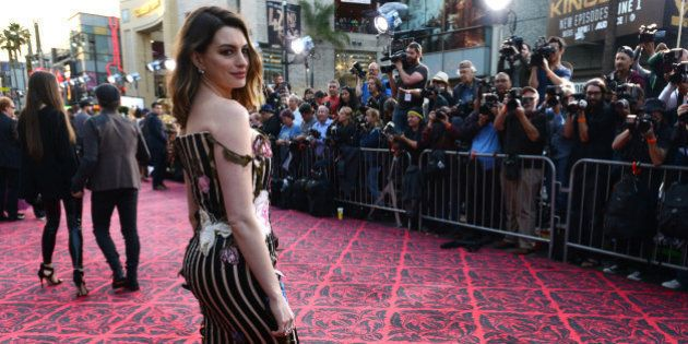 Anne Hathaway arrives at the premiere