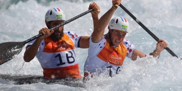 JO 2016: les Français Gauthier Klauss et Matthieu Péché médaillés de bronze en slalom en canoë biplace