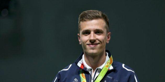 2016 Rio Olympics - Shooting - Victory Ceremony - Men's 25m Rapid Fire Pistol Victory Ceremony - Olympic...