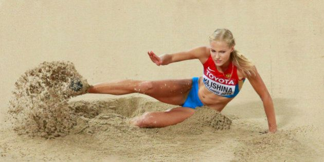 Darya Klishina of Russia competes in the women's long jump final during the 15th IAAF World Championships...