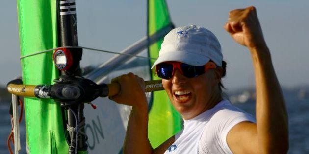 2016 Rio Olympics - Sailing - Final - Women's Windsurfer - RS:X - Medal Race - Marina de Gloria - Rio...