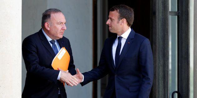 Pierre Gattaz, président du MEDEF, quittant le palais de Elysée, le 23 mai 2017, après une rencontre...