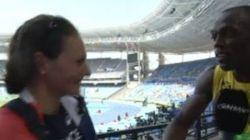 Usain Bolt est venu féliciter notre médaillée d'argent au lancer de