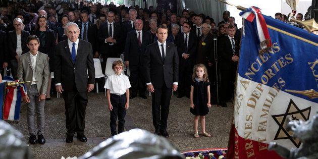 Le Premier ministre israélien Benjamin Netanyahou et le Président Emmanuel Macron commémorent le 75ème...