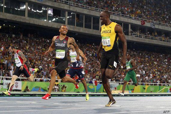 Usain Bolt et Andre de Grasse se marrent en pleine course à
