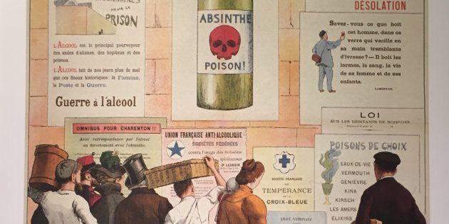 L'Alcool voilà l'ennemi, affiche dessinée par Frédéric Christol, 1910 (BNF, Estampes et