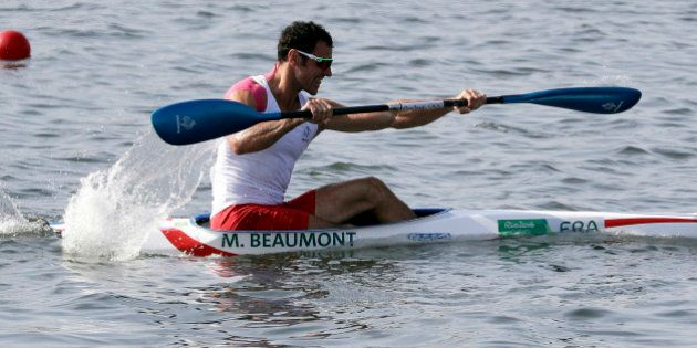 France's Maxime Beaumont paddles in the men's kayak single 200m heat during the 2016 Summer Olympics...