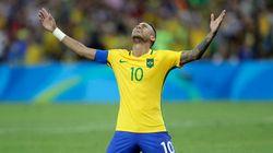 Les larmes de Neymar après la médaille d'or du Brésil aux