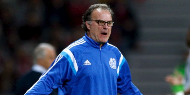 FILE PHOTO - Olympique Marseille coach Marcelo Bielsa reacts during their French Ligue 1 soccer match...