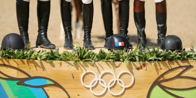 2016 Rio Olympics - Equestrian - Victory Ceremony - Jumping Team Victory Ceremony - Olympic Equestrian...