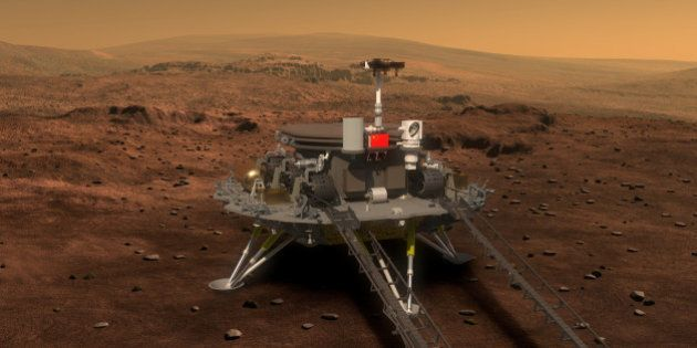 Concept portrayal of China's Mars rover and lander released on August 23, 2016 by lunar probe and space...