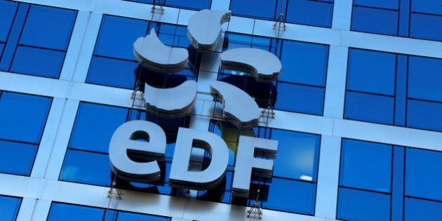 The logo of France's state-owned electricity company EDF is seen on the company's headquarters in Paris,...