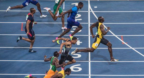 Le Jamaïcain Usain Bolt vainqueur du 100 mètres des Jeux de