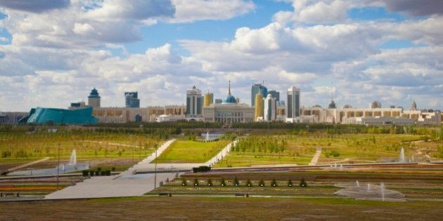 Astana skyline from the gardens of the Palace of Peace and Reconciliation, from left to right - the Central...