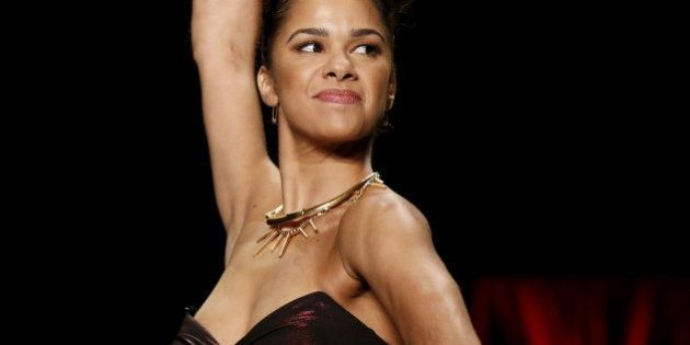 Misty Copeland presents a creation during the American Heart Association's (AHA) Go Red For Women Red...