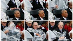 Le combat de Bush contre son poncho en a fait rire plus
