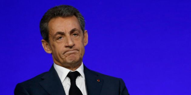 Nicolas Sarkozy, head of France's Les Republicains political party and former French President, speaks...