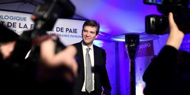 Arnaud Montebourg à son QG de campagne après l'annonce des résultats du premier tour de la primaire de...