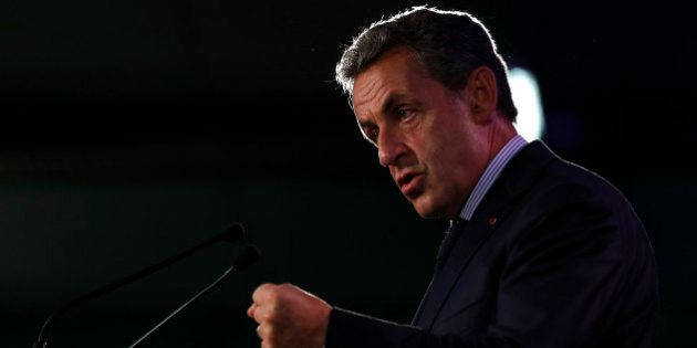Former French President Nicolas Sarkozy delivers his speech during a meeting in Poissy, near Paris, France,...
