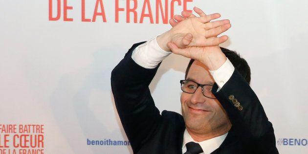 Benoit Hamon lors de l'annonce des résultats du premier tour de la primaire de la gauche, le 22 janvier...