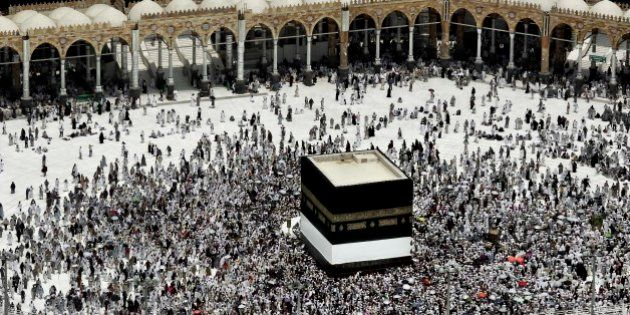 Muslim pilgrims circle the Kaaba, Islam's holiest shrine, at the Grand Mosque in the Muslim holy city...