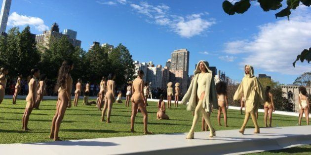 Models wear the Yeezy Season 4 collection by Kanye West during a fashion show, Wednesday, Sept. 7, 2016,...