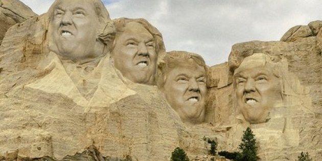 Le visage du président américain sur la célèbre montagne américaine.Capture Twitter