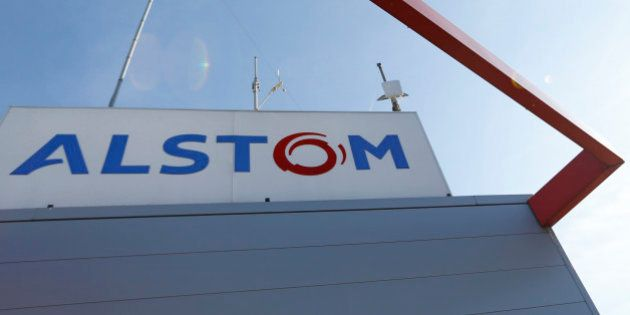 The logo of French engineering group Alstom is seen at a plant in Aytre near La Rochelle, France, August...