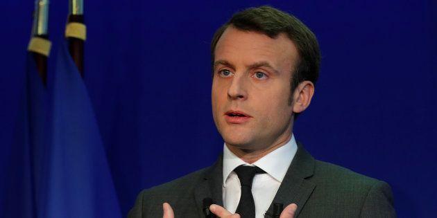 Emmanuel Macron en conférence de presse dans son QG de campagne le 19 janvier