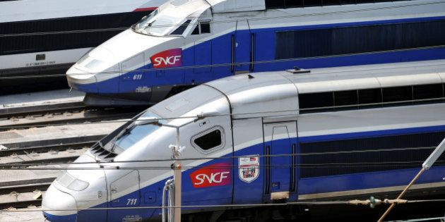TGV trains (high speed train) are parked at a SNCF depot station in Charenton-le-Pont near Paris, France,...