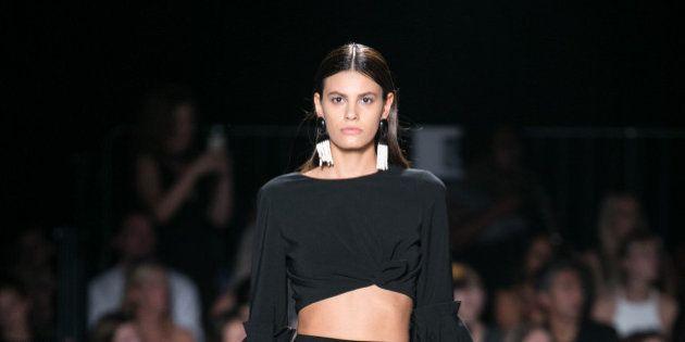 NEW YORK, NY - SEPTEMBER 10: Model walks runway at Christian Siriano - Front Row - September 2016 - New...