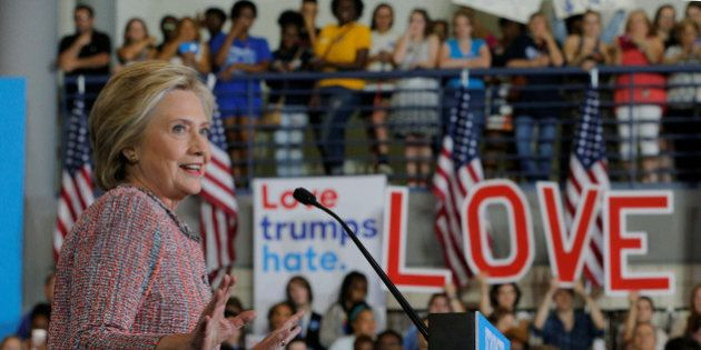 U.S. Democratic presidential candidate Hillary Clinton speaks at a campaign rally in Greensboro, North...