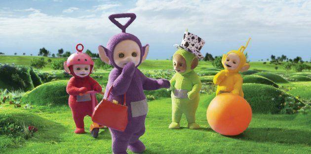 Tinky Winky en violet, Dipsy en vert, Laalaa en jaune et Po en