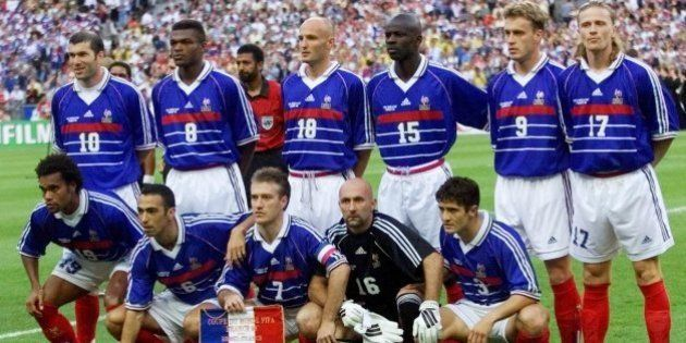 The French national soccer team poses for a team picture prior to the final of the soccer World Cup 98...