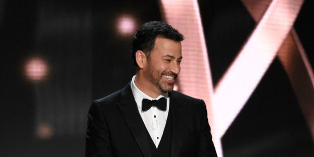 Host Jimmy Kimmel appears at the 68th Primetime Emmy Awards on Sunday, Sept. 18, 2016, at the Microsoft...
