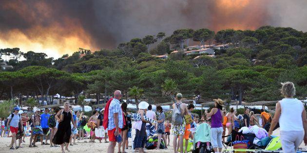 La forêt brûle à Bormes-les-Mimosas, dans le sud-est de la France, le 26 juillet 2017. Au moins 10.000...